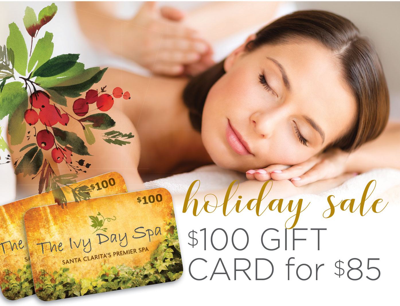 Holiday Sale $100 Spa gift cards for $85