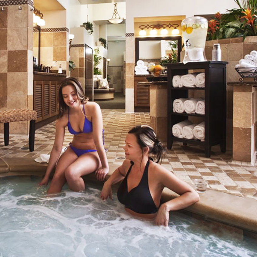Spa amenities include hot tub and steam room